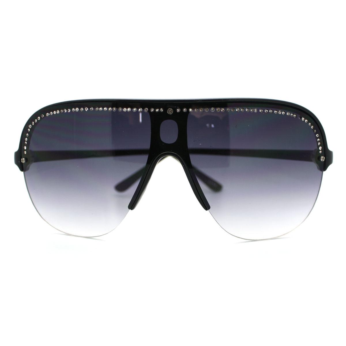 New Womens Oversized Rhinestone Shield Sunglasses Rimless ...