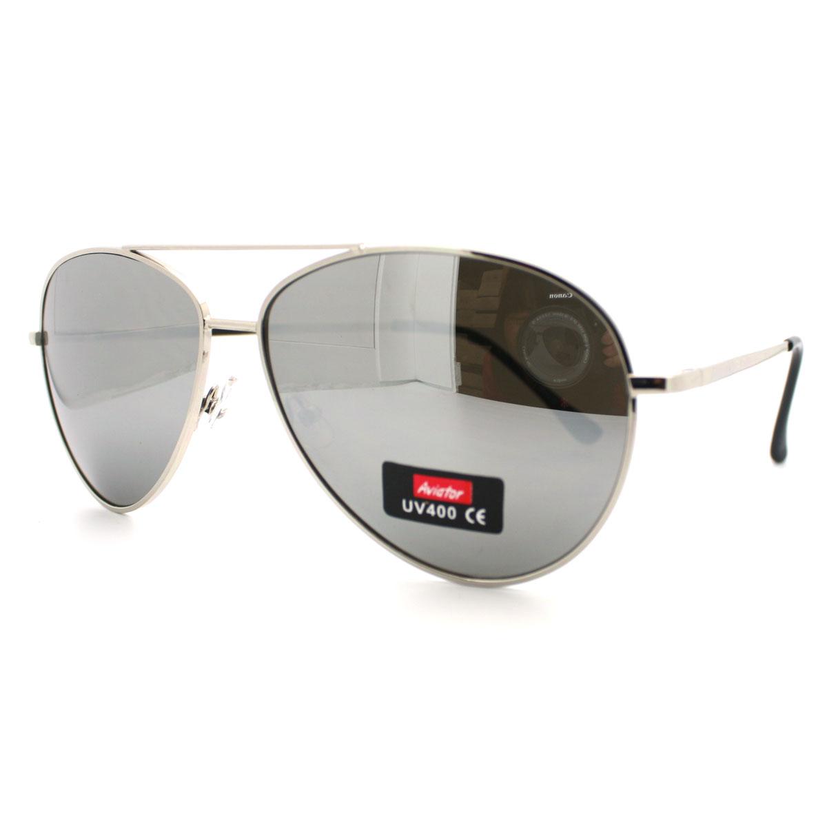 silver aviator sunglasses  Classic Police Style Mirror Lens Aviator Sunglasses w/ Silver ...