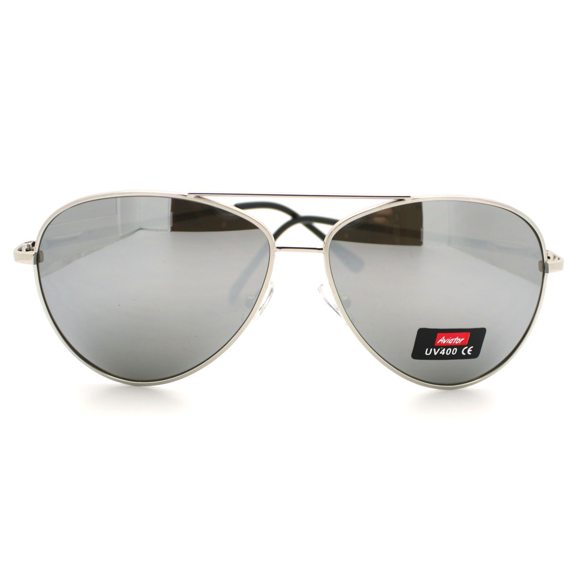 aviator sunglasses silver  Classic Police Style Mirror Lens Aviator Sunglasses w/ Silver ...