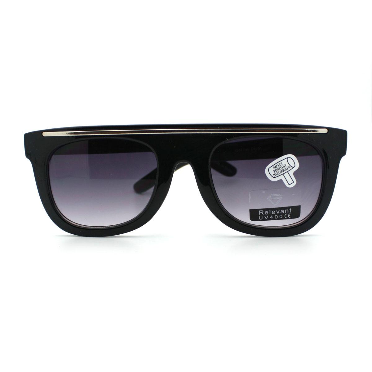 7bc23f74732 Metal Bar Trim Flat Top Horn Rimmed Sunglasses New Retro Design ...