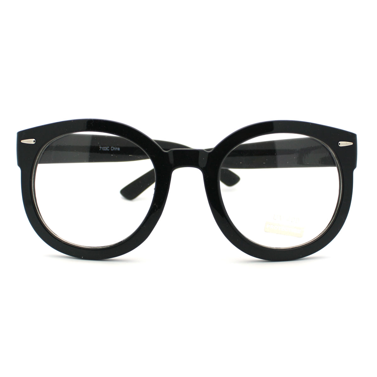 Black Oversized Round Thick Horn Rim Clear Lens Fashion ...