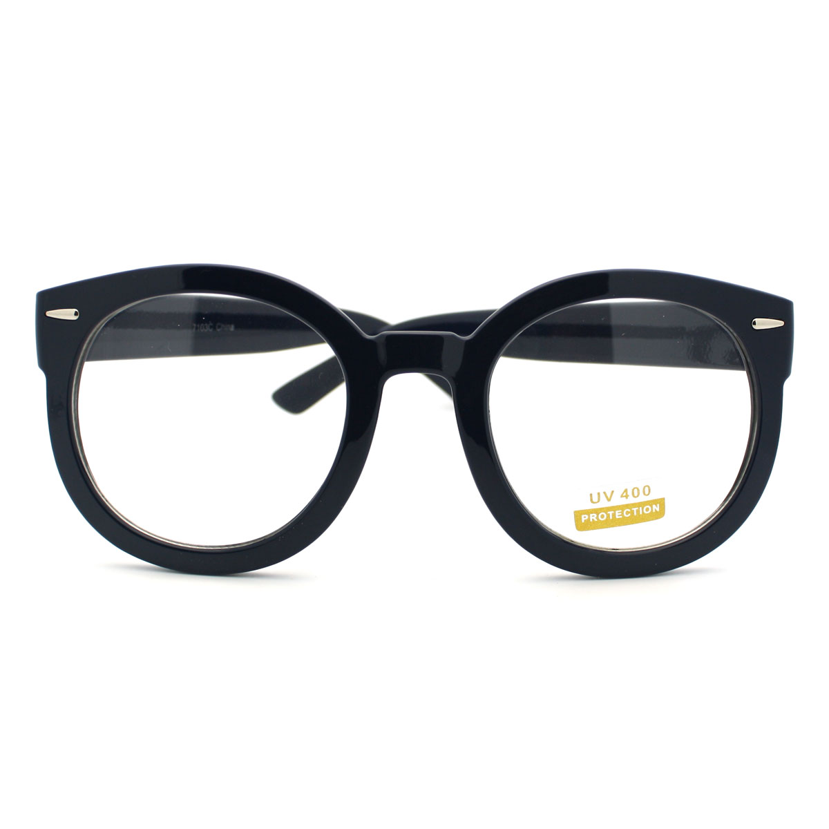 Navy Oversized Round Thick Horn Rim Clear Lens Fashion Eye ...