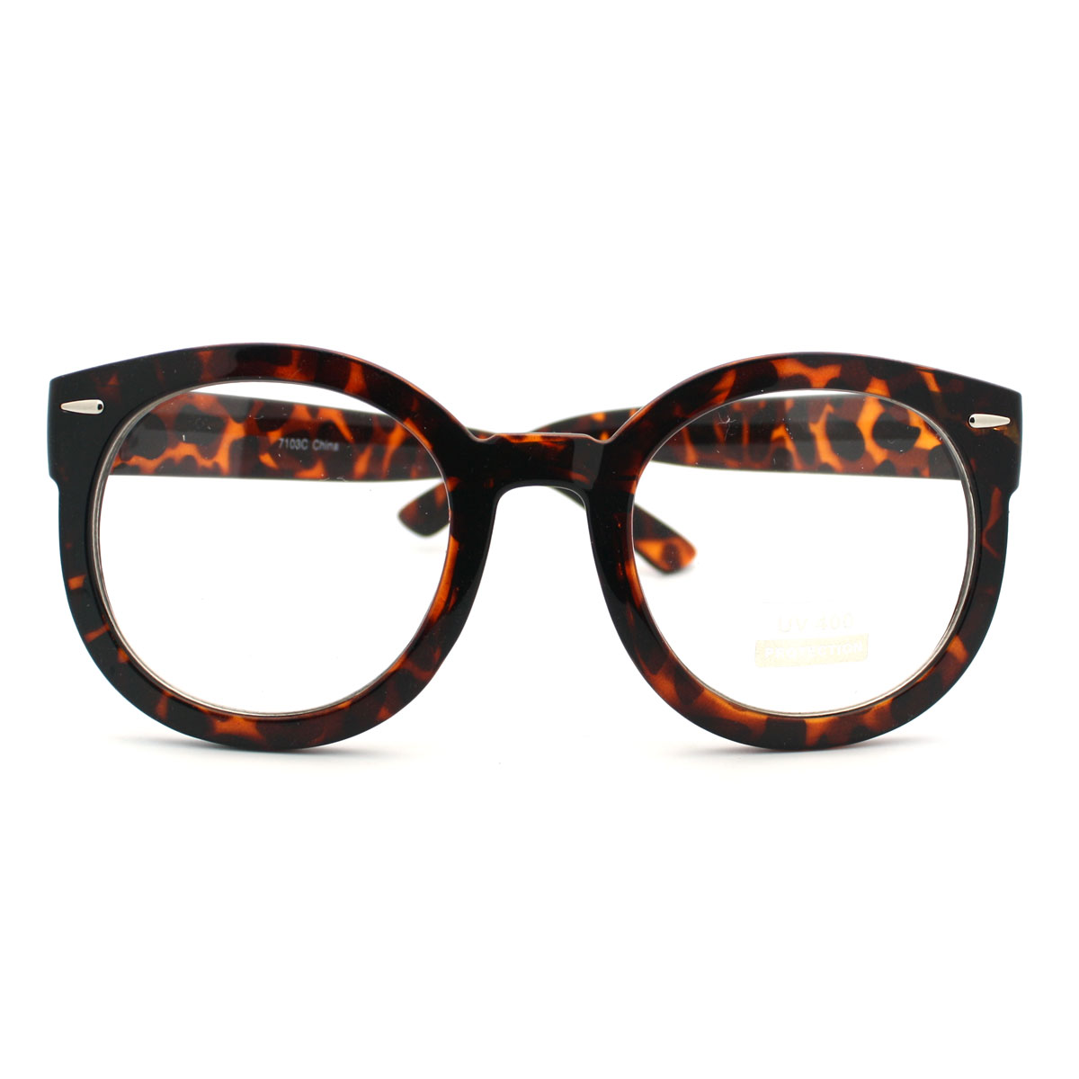 Glasses Frames Black On Top Clear On Bottom : Tort Oversized Round Thick Horn Rim Clear Lens Fashion Eye ...