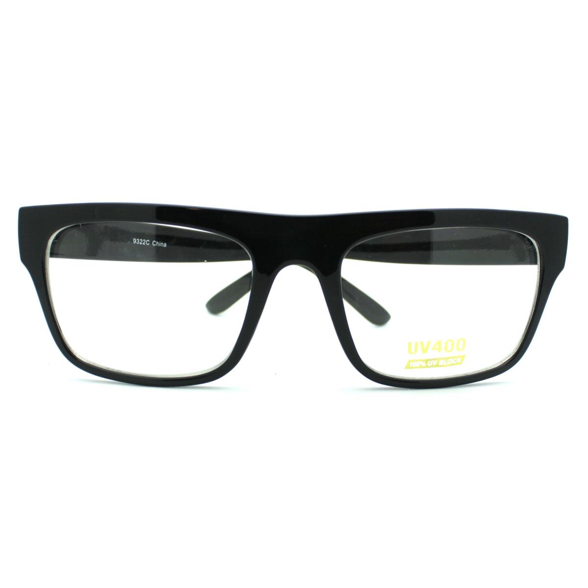 Glasses Frames Black On Top Clear On Bottom : Black Nerdy Square Rectangular Horn Rimmed Clear Lens ...