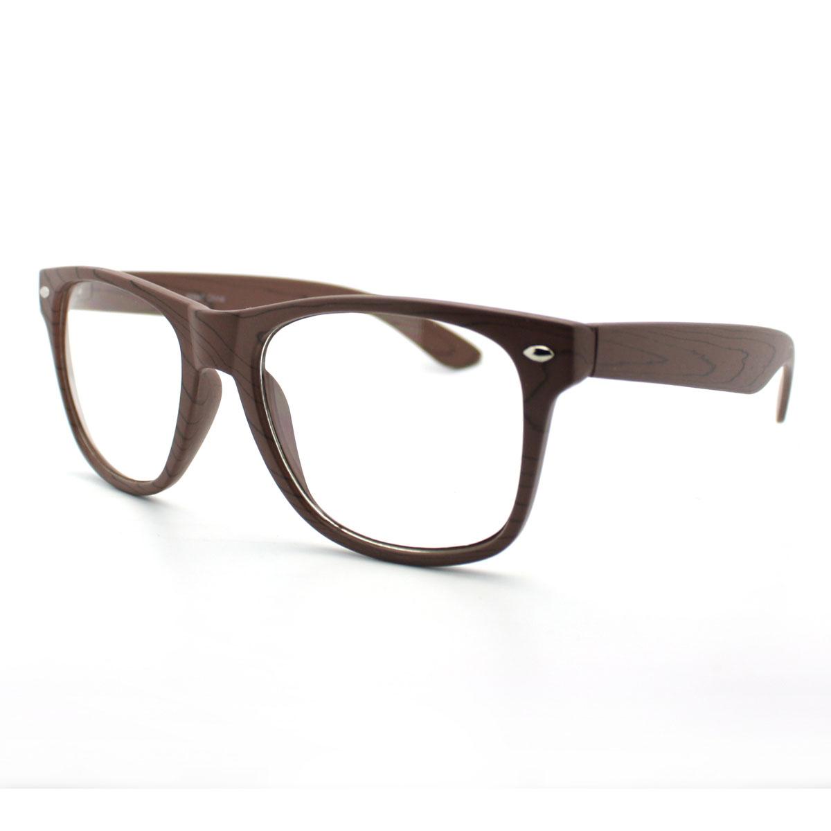 Wood Grain Glasses Frame : Wood Grain Print Nerd Geek Eye Glasses with Clear Lens eBay