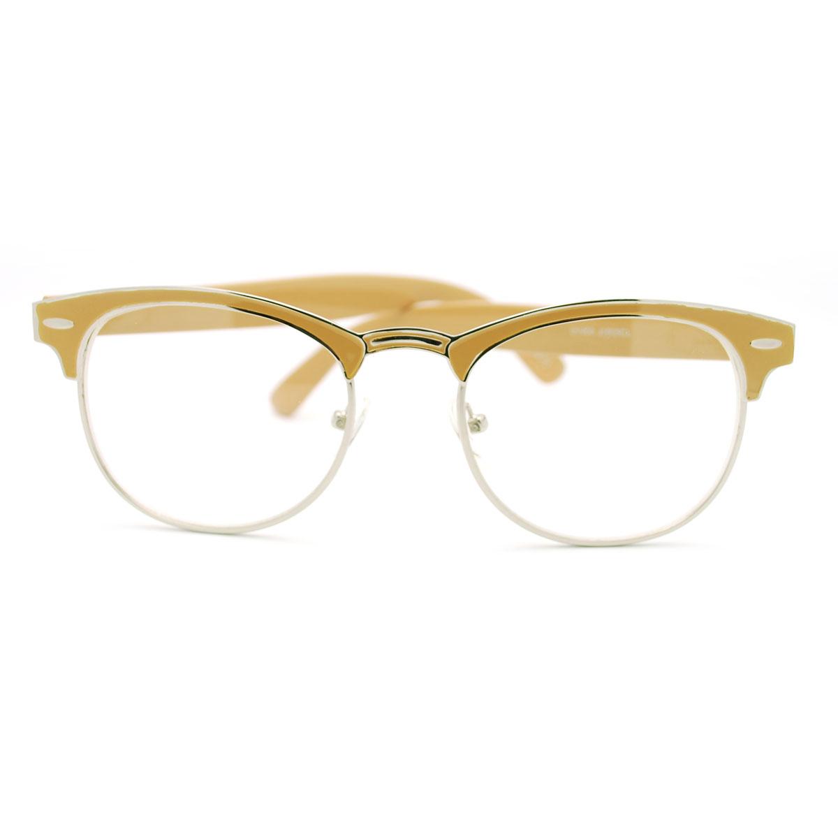 Colorful Metal Half Rim Eye Glasses Frame Celebrity Style ...