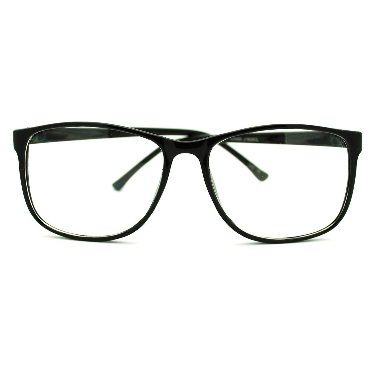 Retro Style nerdy Thin Plastic Frame Large Rectangular ...