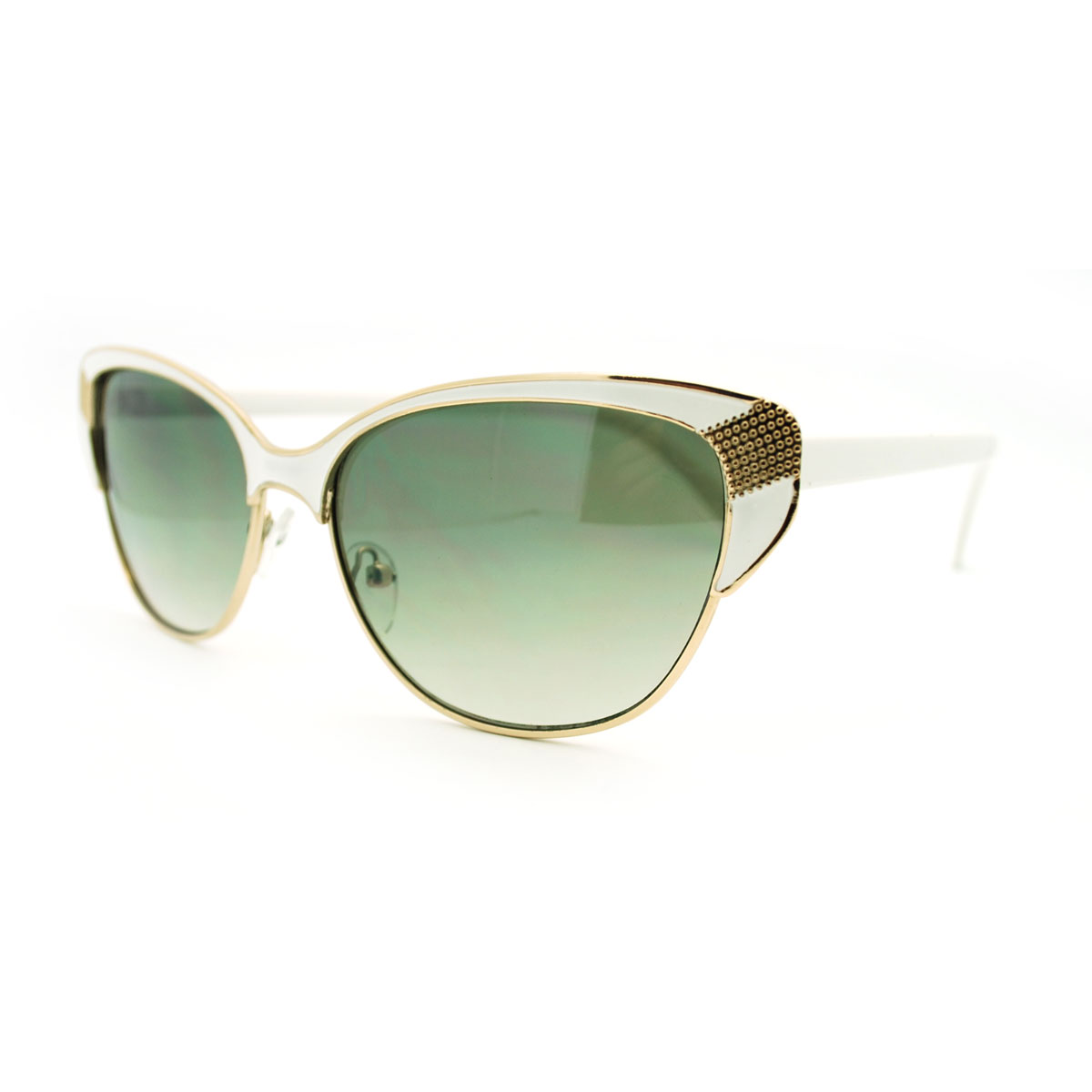Retro Metal Frame Cat Eye Half Rim Sunglasses - White eBay