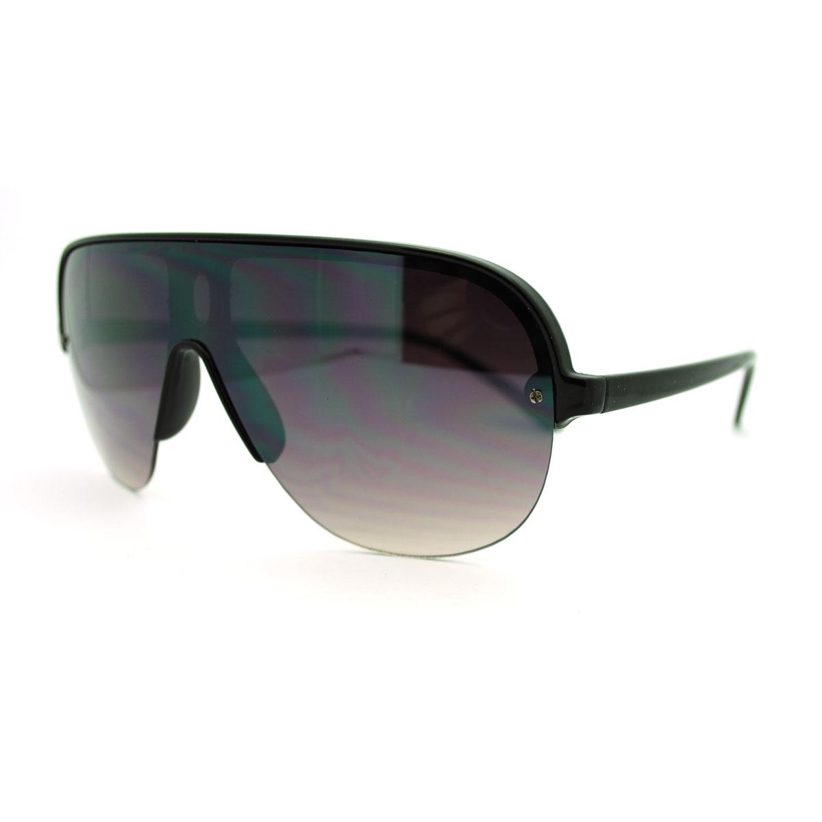 Half Rim Sunglasses  retro rimless half rim oversized shield style aviator sunglasses