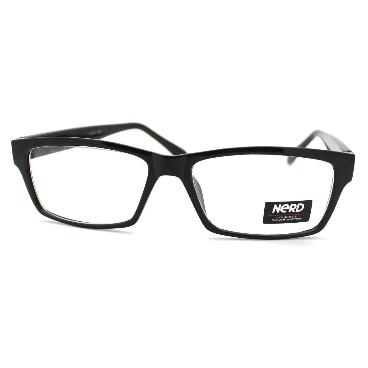 Glasses Frames Black On Top Clear On Bottom : Unisex New Geeky Nerd Narrow Rectangular Clear Lens ...