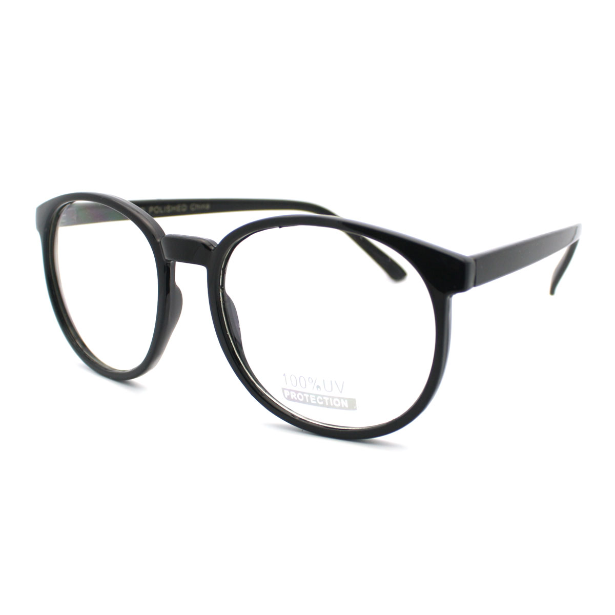 Geeky Thin Plastic Frame Large Round Clear Lens Eye