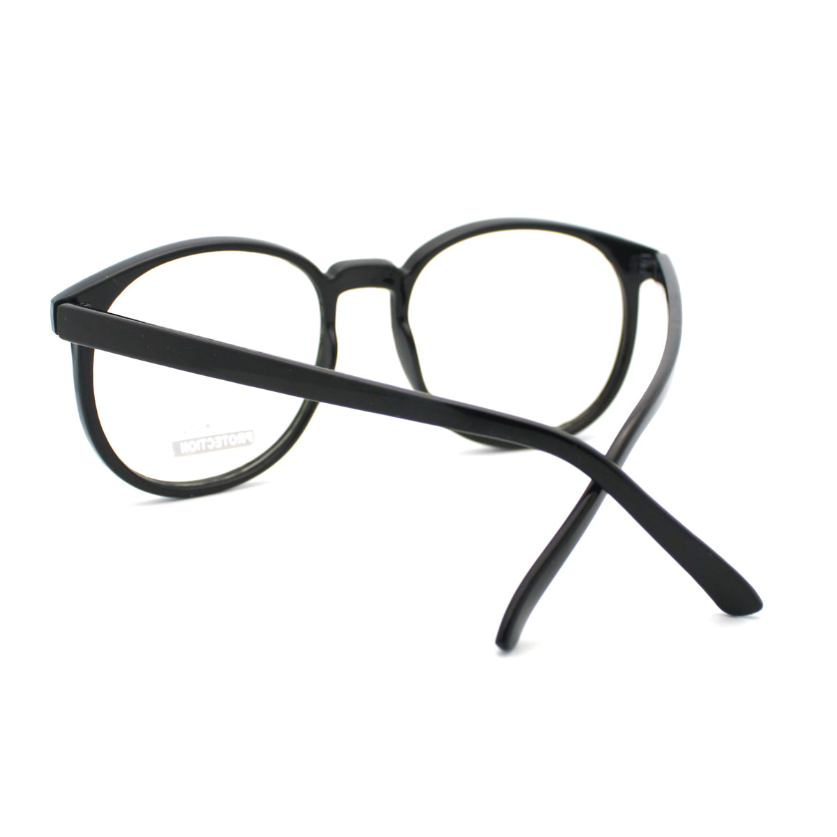 Large Thin Frame Glasses Matte Black : Black Geeky Nerd Thin Plastic Frame Large Round Clear Lens ...