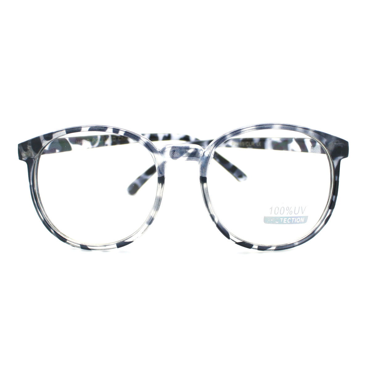 Geeky Thin Plastic Frame Large Round Clear Lens Eye ...