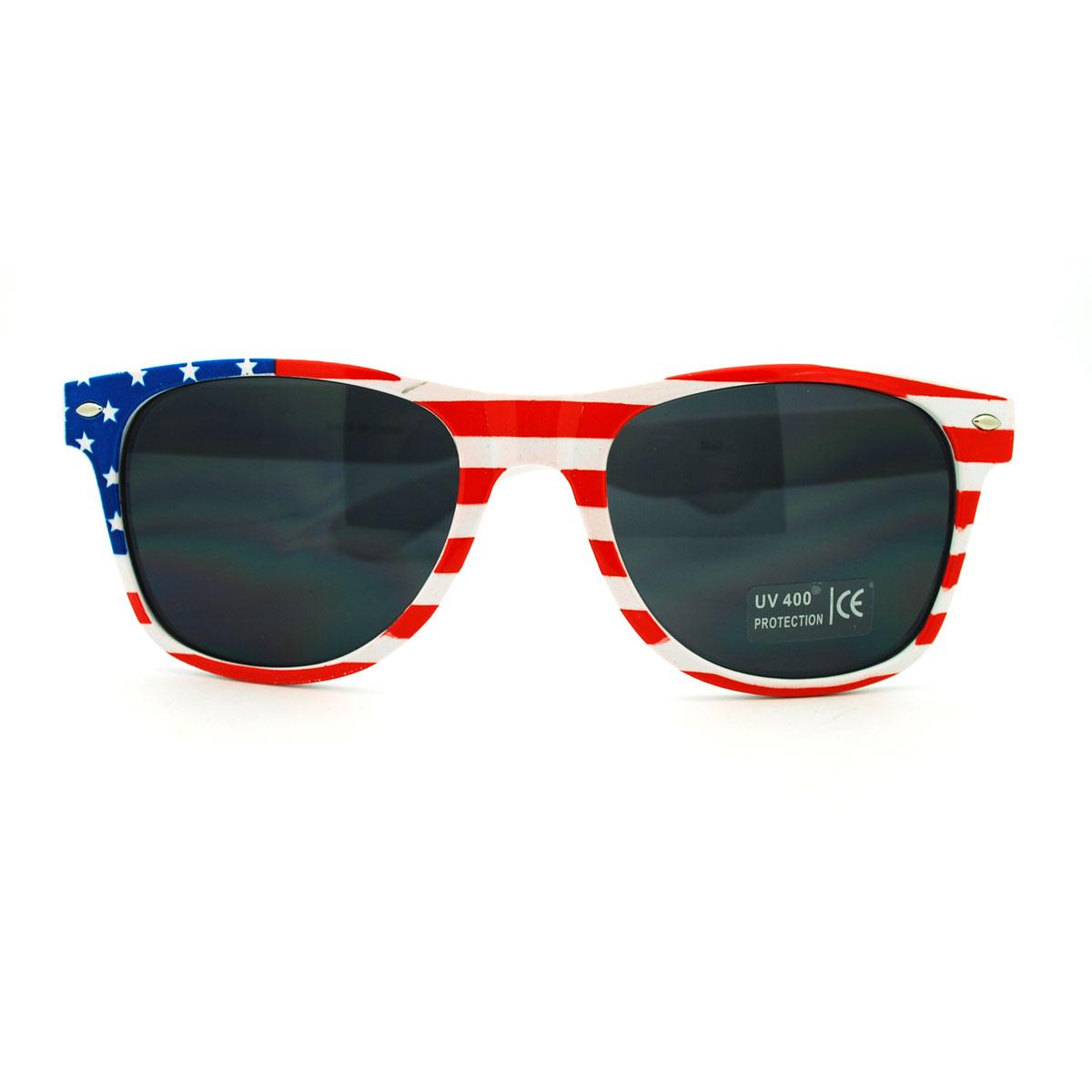 American Flag Sunglasses Pin: Patriotic Classic American Flag Horn Rim Sunglasses With