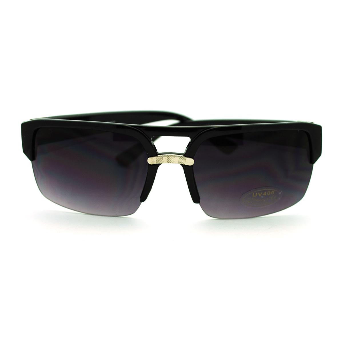 Men's Baller Luxury Half Rim Flat Top Fashion Sunglasses ...