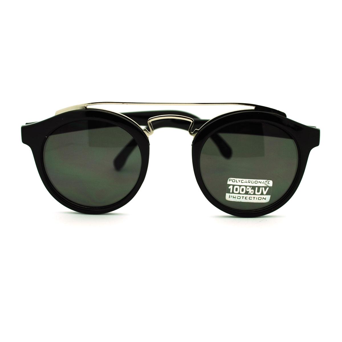 Unique Metal Wire Nose Bridge Key Hole Horn Rim Sunglasses