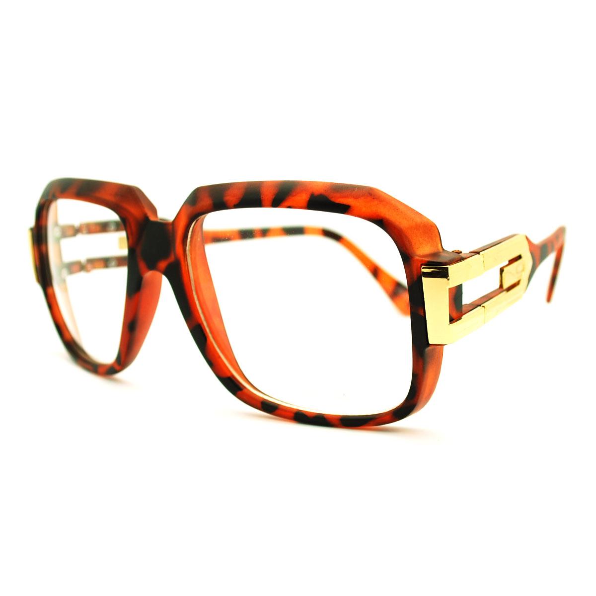 2b3d64d6bc0 Mens Hip Hop Rapper Gazelle Rectangular nerdy 80s Geek Clear Lens Glasses