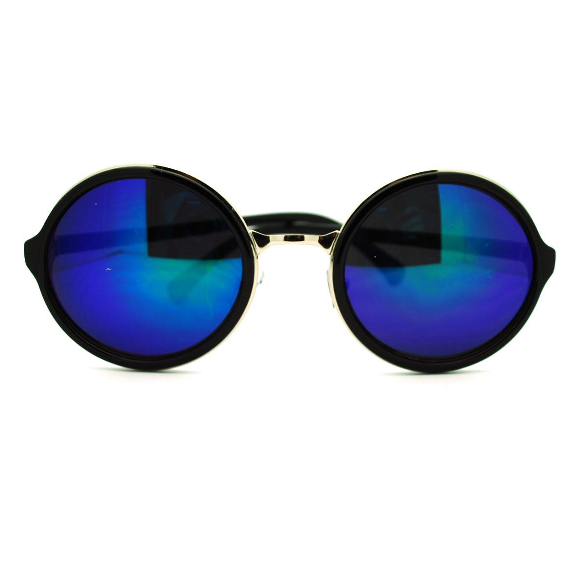 Celebrity gentleman color mirror circle lens round sunglasses for Mirror sunglasses