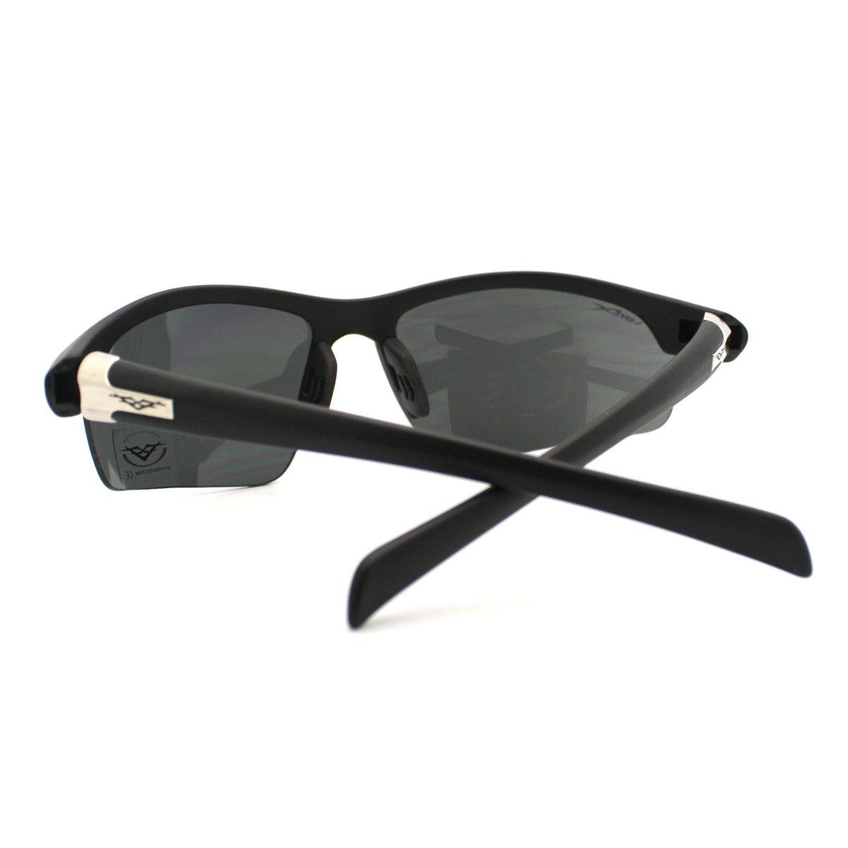 d133f03ba5 New Sports Sunglasses Half Rim Wrap Around Outdoor Shades Mens Black ...