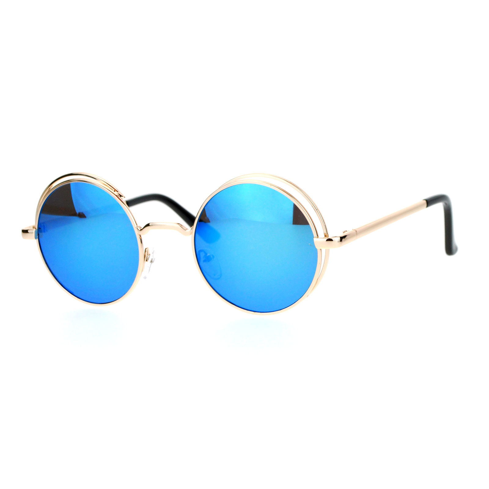 6d7e3d0b5d5 SA106 Color Mirror Round Circle Len Double Rim Sunglasses
