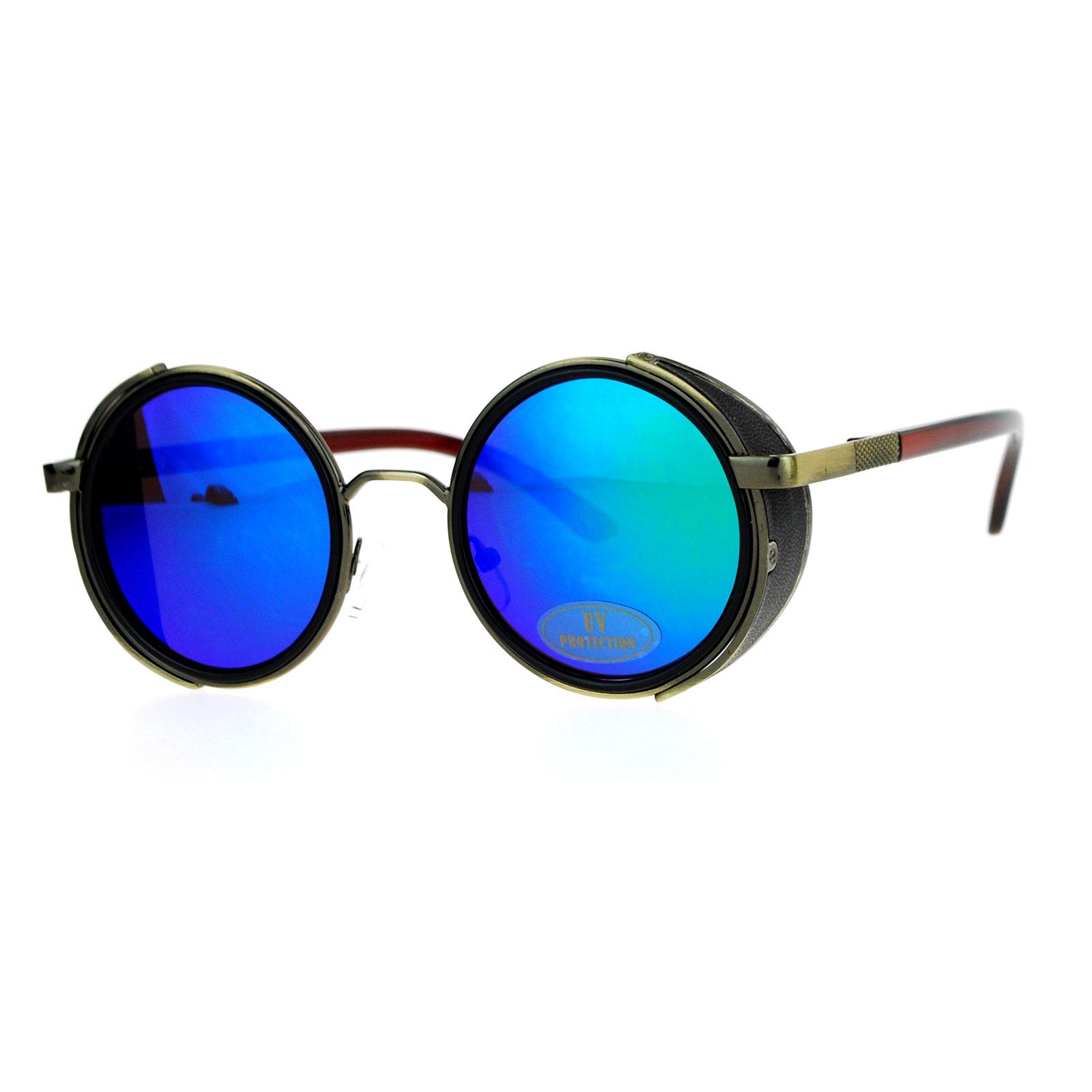 Round Circle Sunglasses  sa106 steampunk victorian side visor round circle lens sunglasses