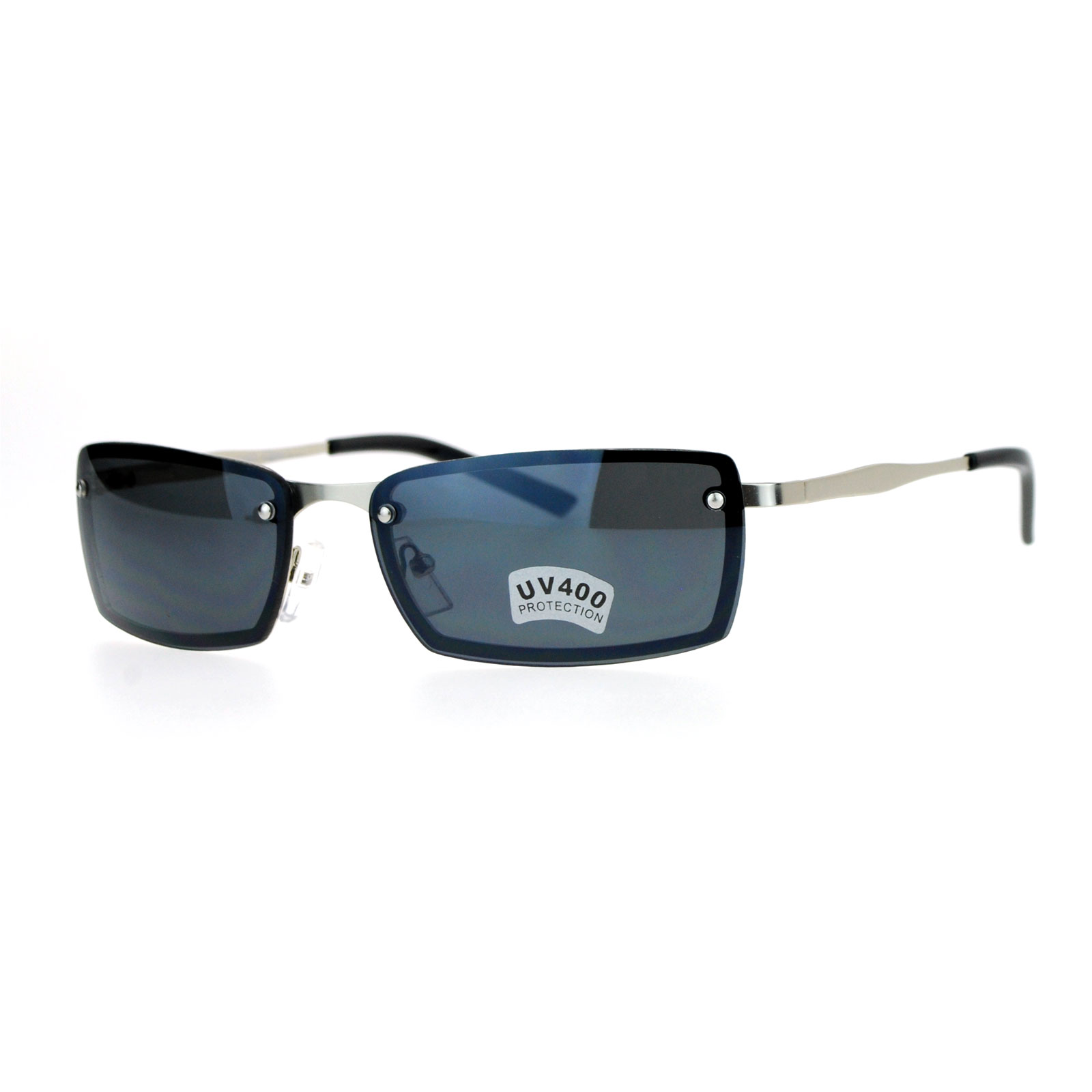 1b012504841 SA106-Mens-Rimless-Narrow-Rectangular-Agent-Sunglasses thumbnail 6