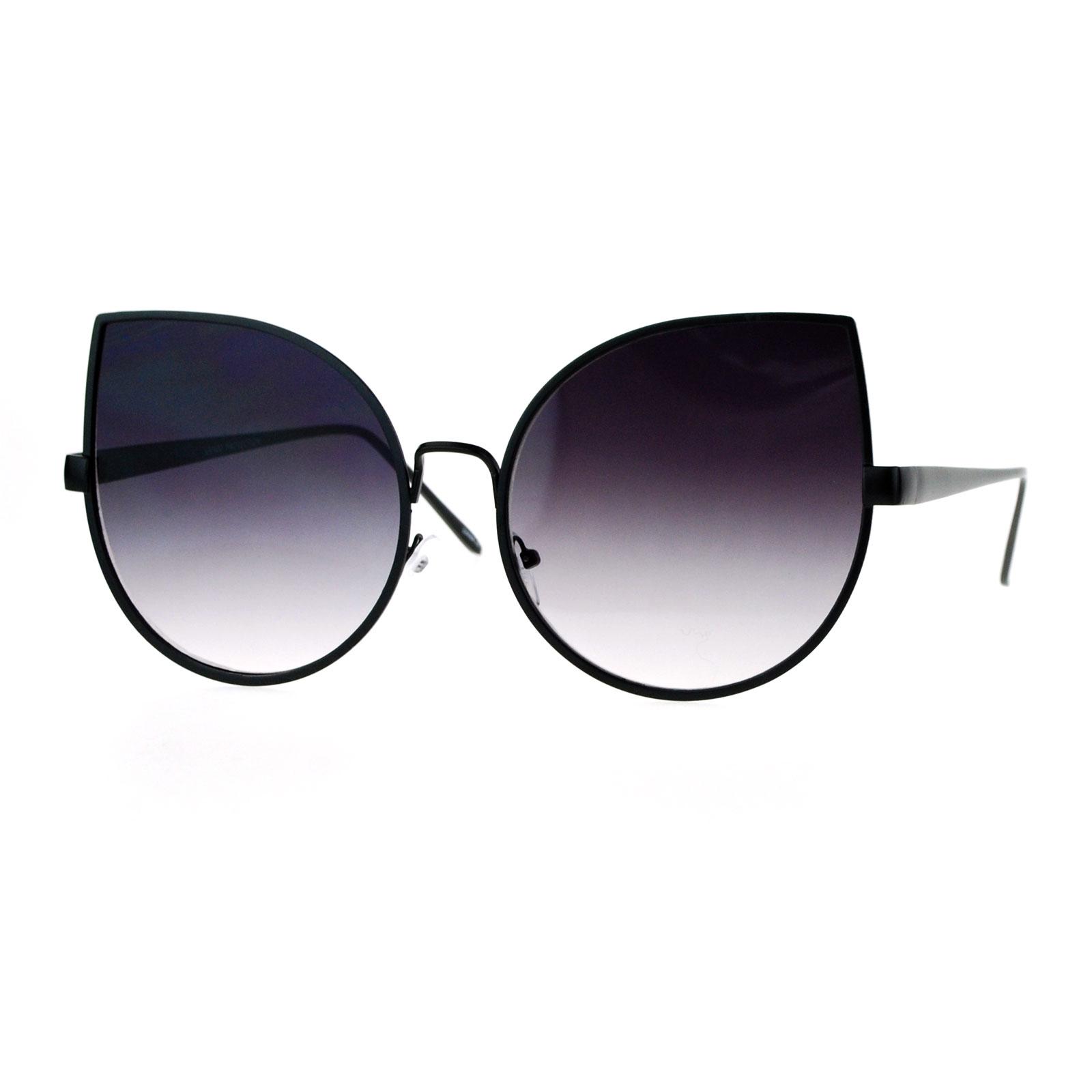Circle Sunglasses  sa106 grant flat lens bat shape metal rim cat eye circle