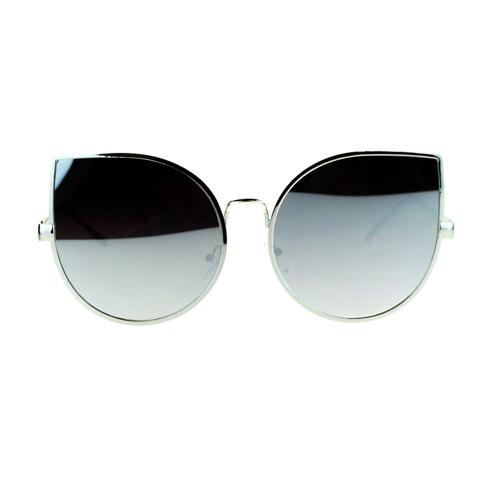 Circle Sunglasses  sa106 retro flat lens bat shape metal rim cat eye circle