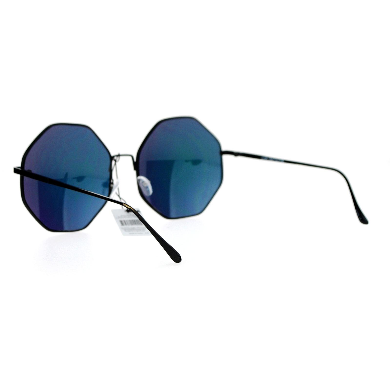 a9f8fca948c SA106 Pink Mirror Lens Octagon Metal Oversize Womens Sunglasses