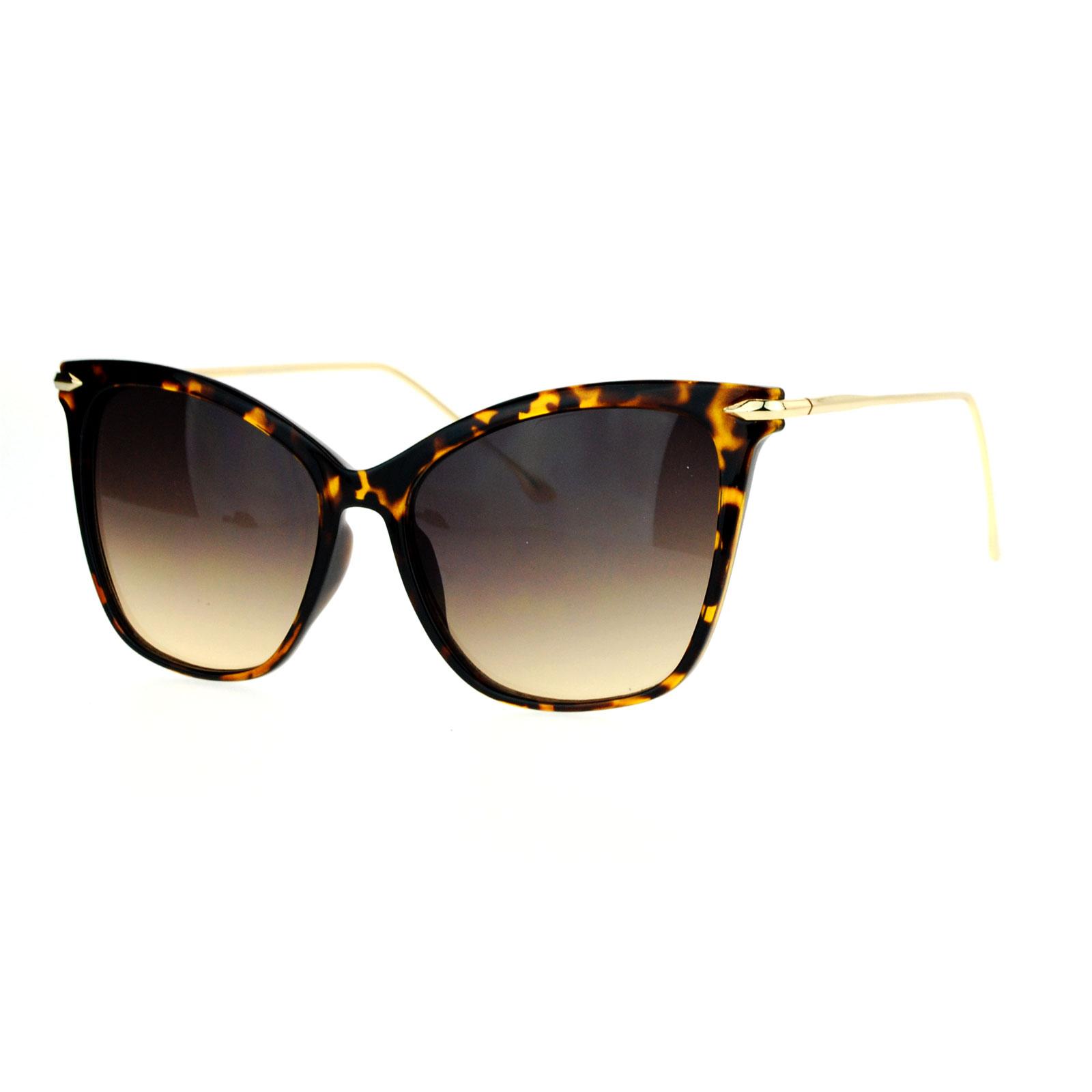 SA106 Womens Oversize Cat Eye Designer Fashion Metal Arm Sunglasses