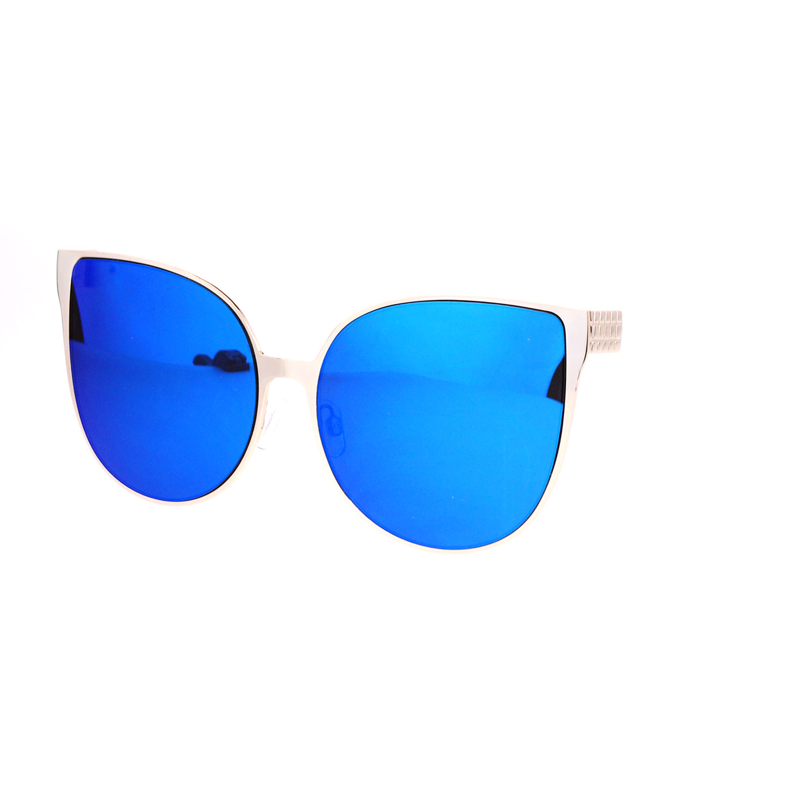 Oversized Mirrored Sunglasses  sa106 womens oversized flat mirrored lens metal rim cat eye