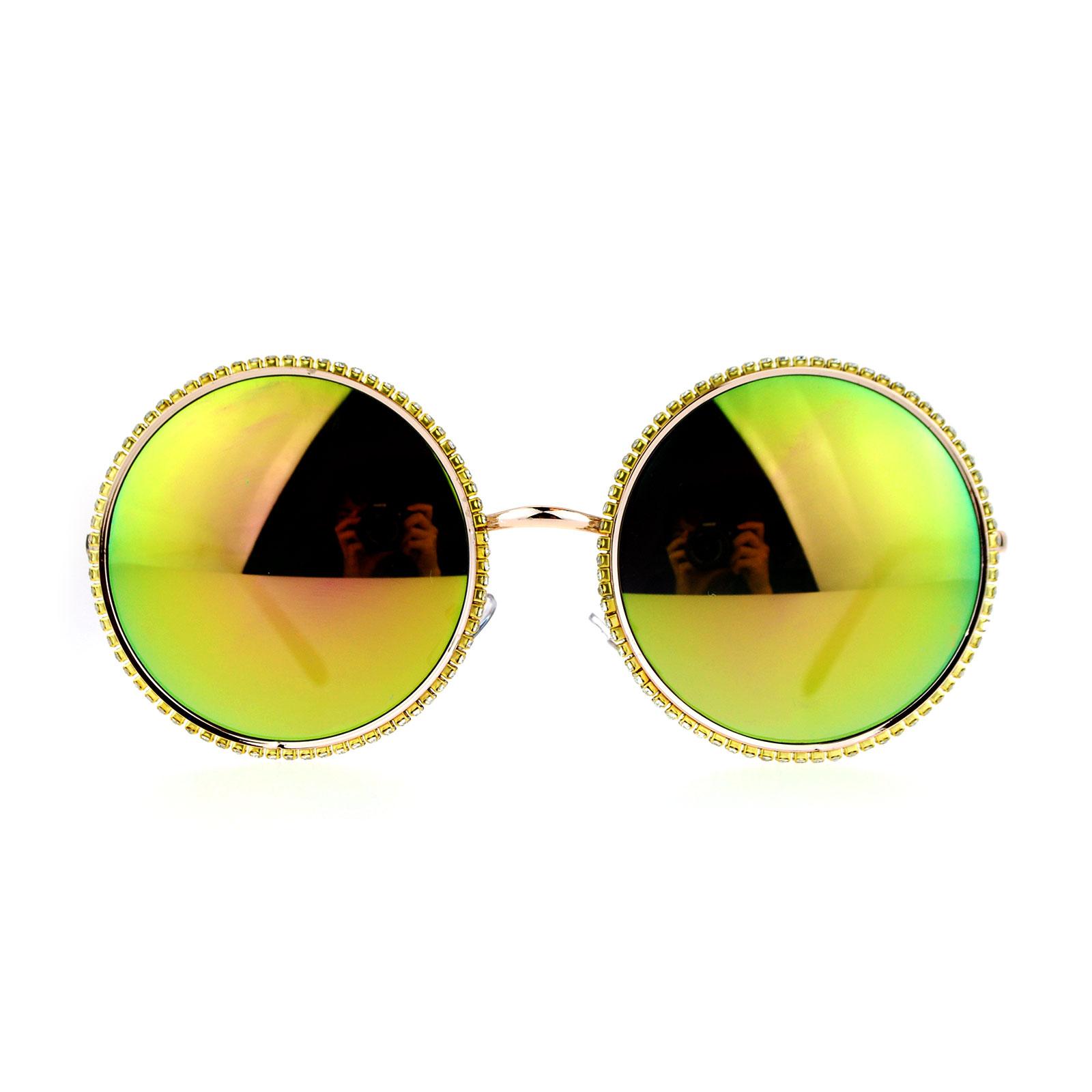 SA106 Bling Rhinestone Edge Round Circle Lens Mirror Sunglasses