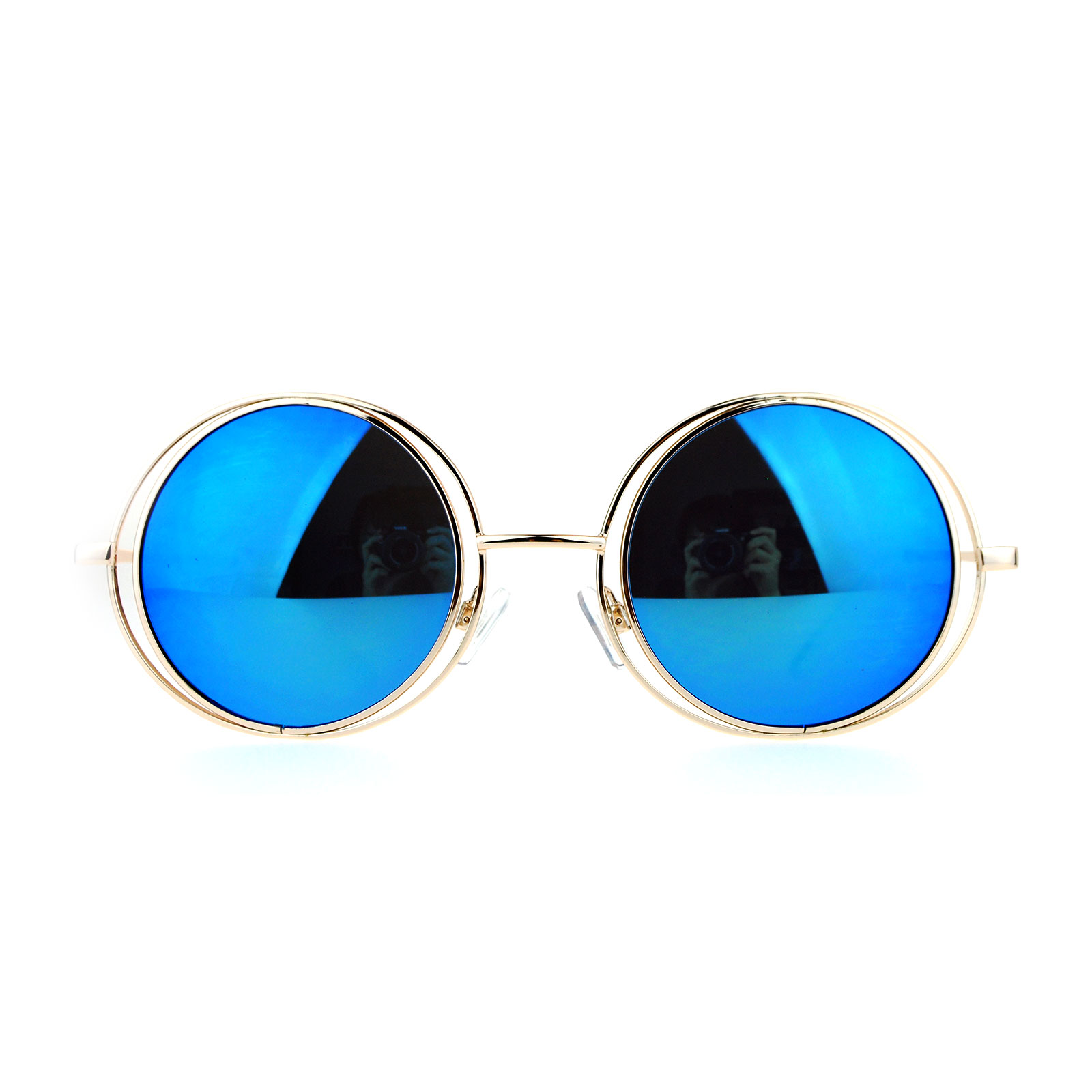mirrored circle sunglasses  SA106 Mirrored Double Round Metal Rim Circle Lens Hippie ...