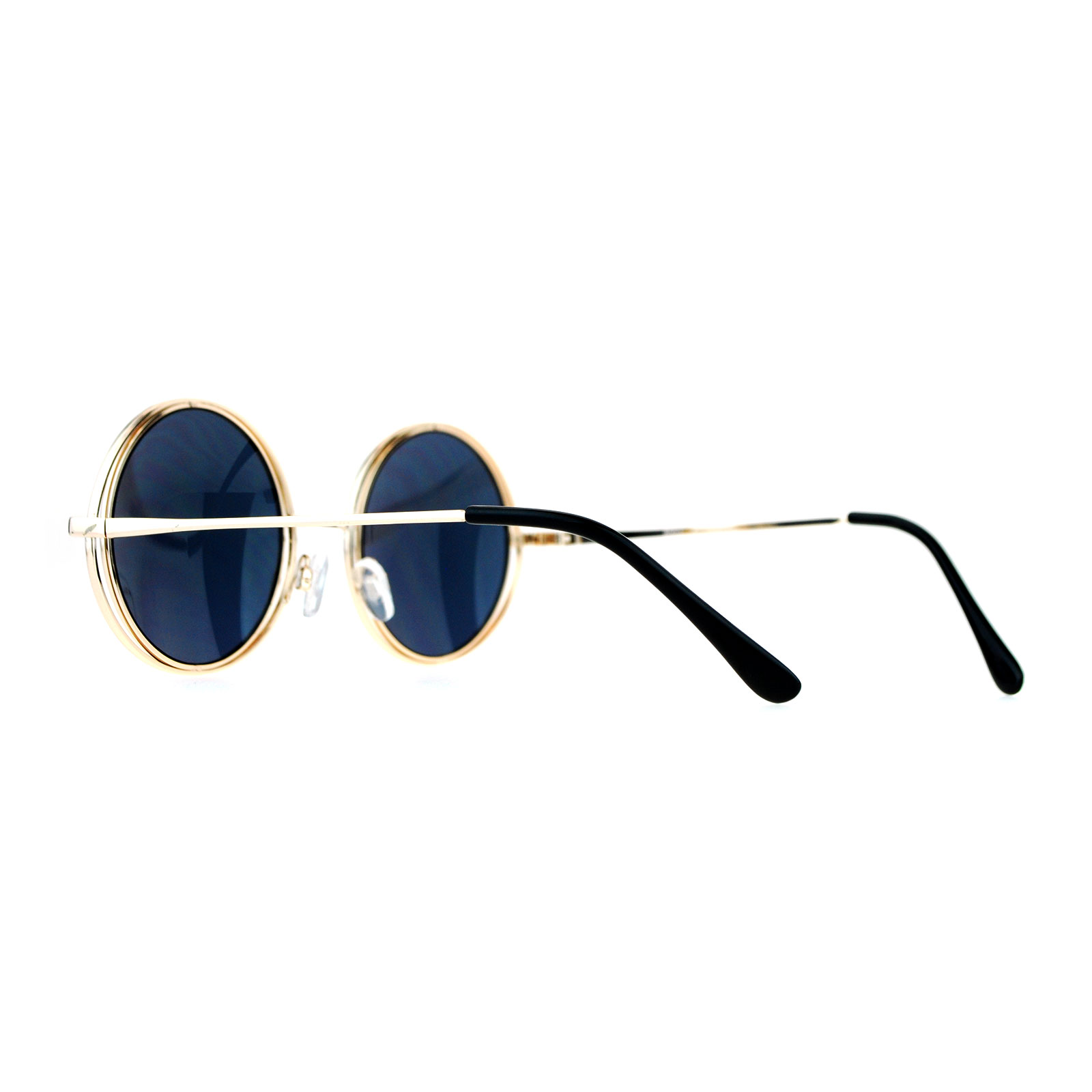 21aed6a119e SA106 Mirrored Double Round Metal Rim Circle Lens Hippie Sunglasses ...