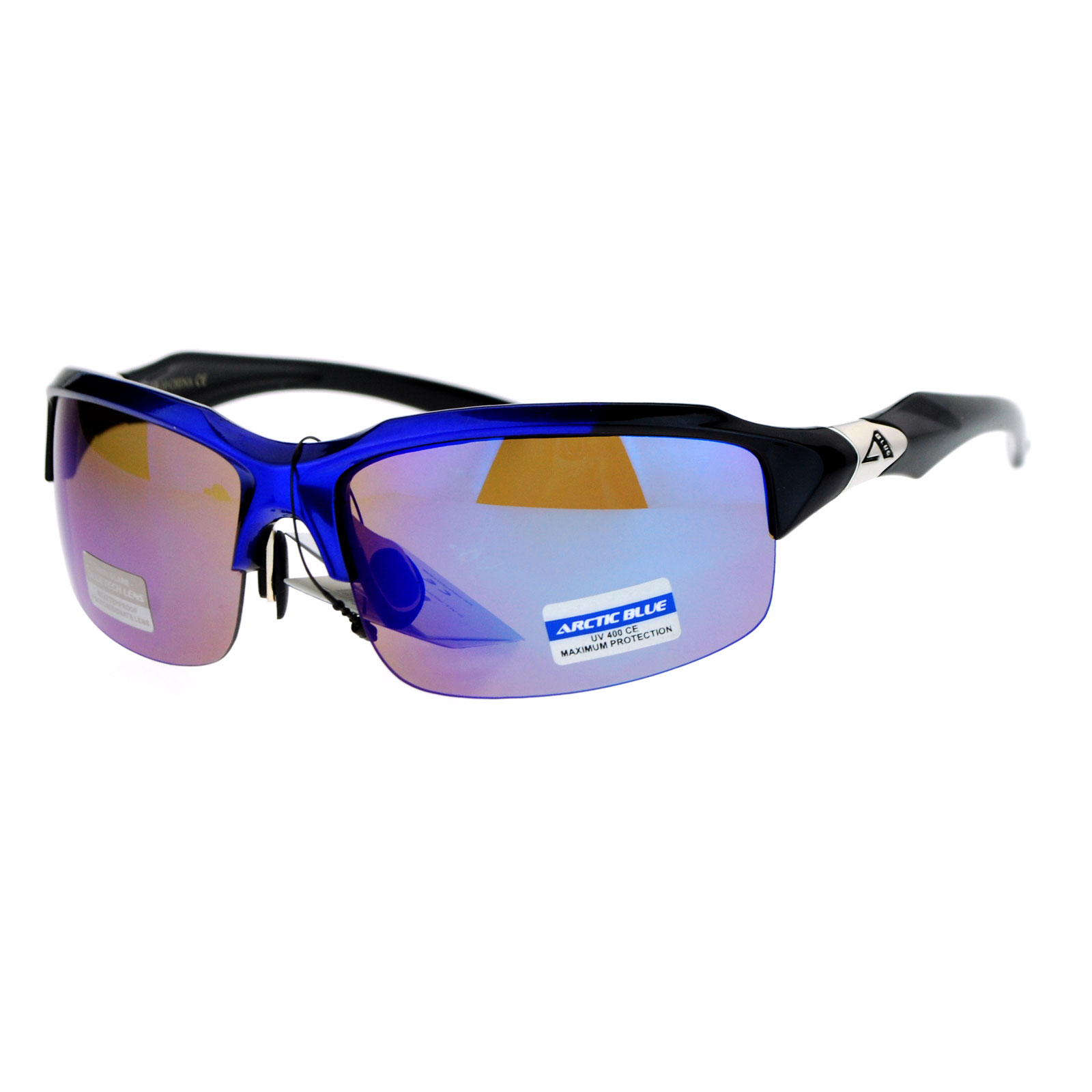 Sunglasses With Mirrored Lenses  arctic blue bluetech mirrored lens baseball half rim sport