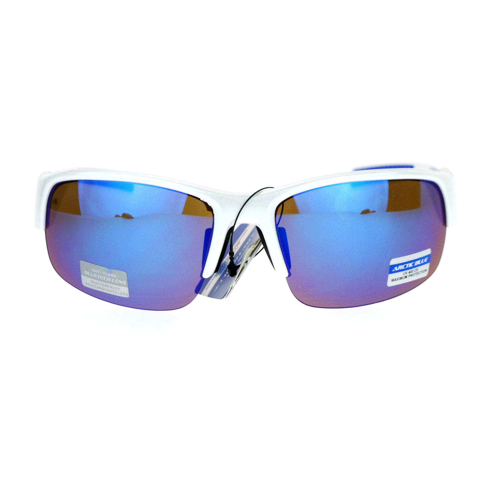SA106 Mens Rectangular Baseball Half Rim Sport Color Mirrored Lens Sunglasses