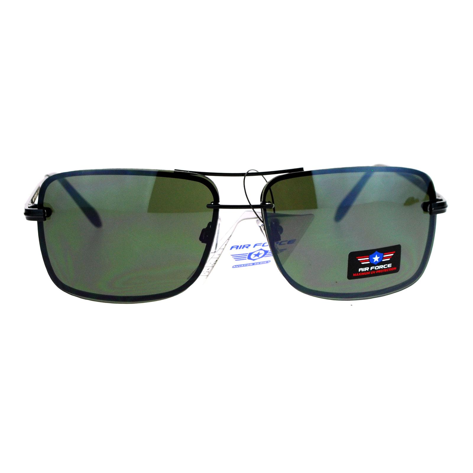 b52ebfea7c SA106 Air Force Rimless Rectangular Aviator Sunglasses