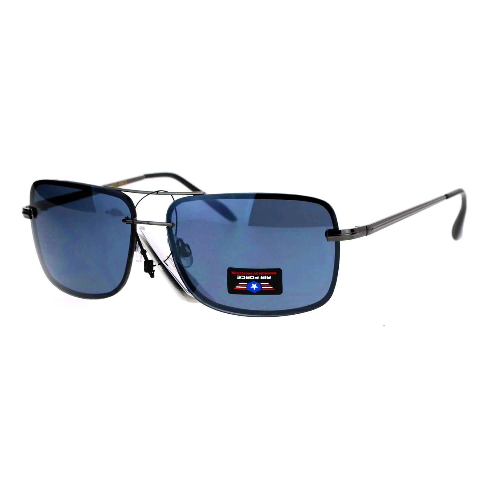 Rimless Aviator Sunglasses : SA106 Air Force Rimless Rectangular Aviator Sunglasses eBay