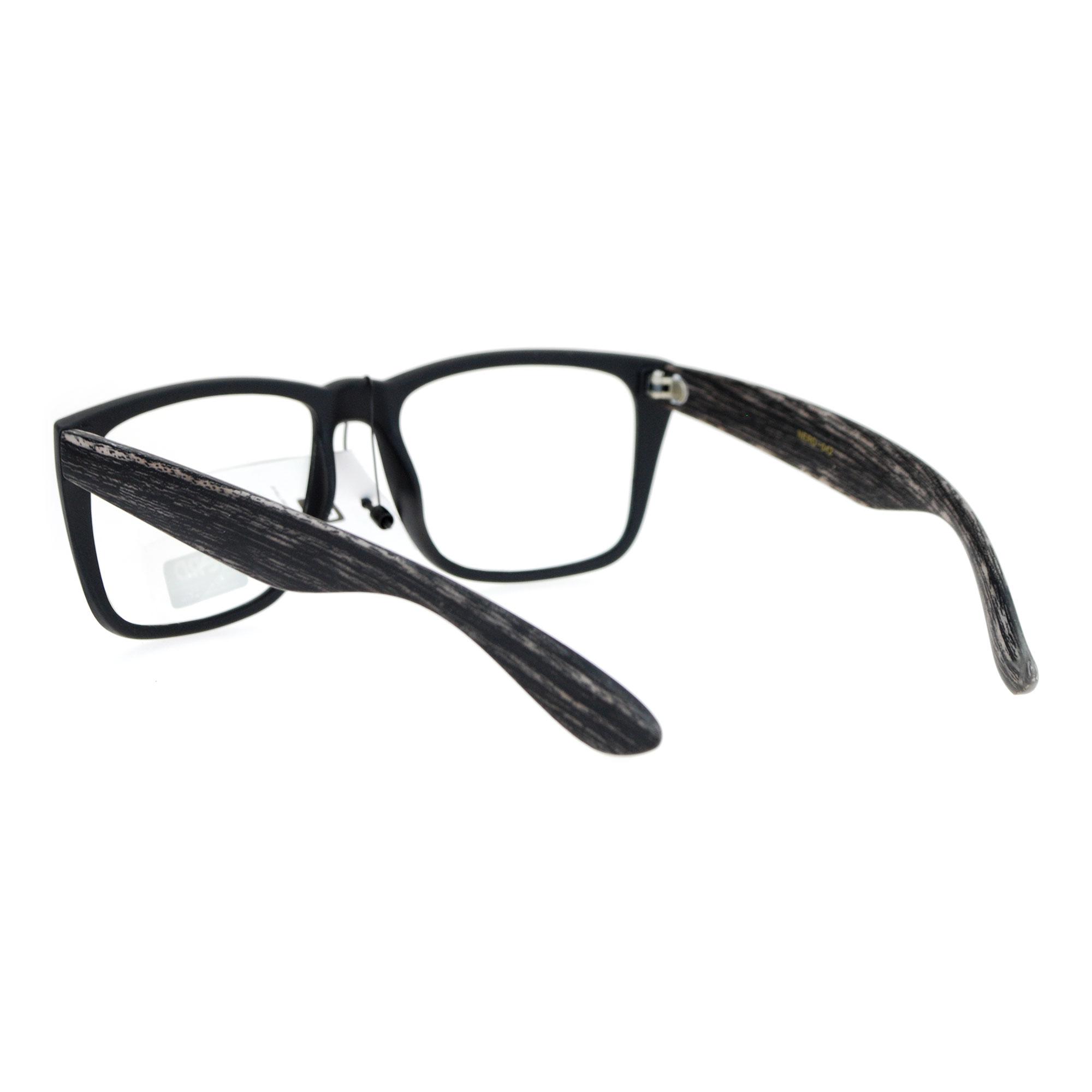 Large Rectangular Glasses Frame : SA106 Wood Grain Arm Large Rectangular Clear Lens Eye ...