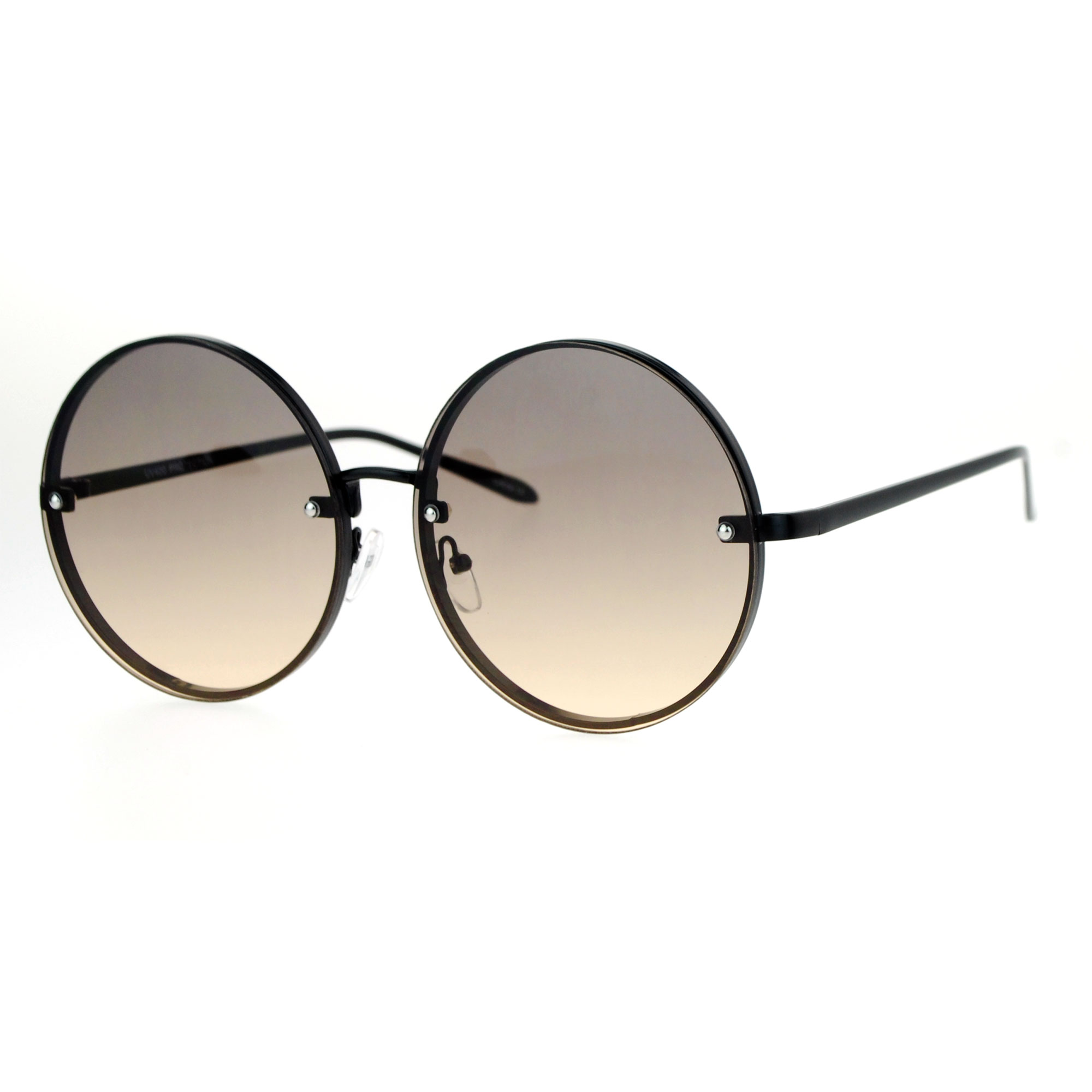 Rimless Glasses Round Lens : SA106 Rimless Hippie Round Circle Oceanic Color Lens ...