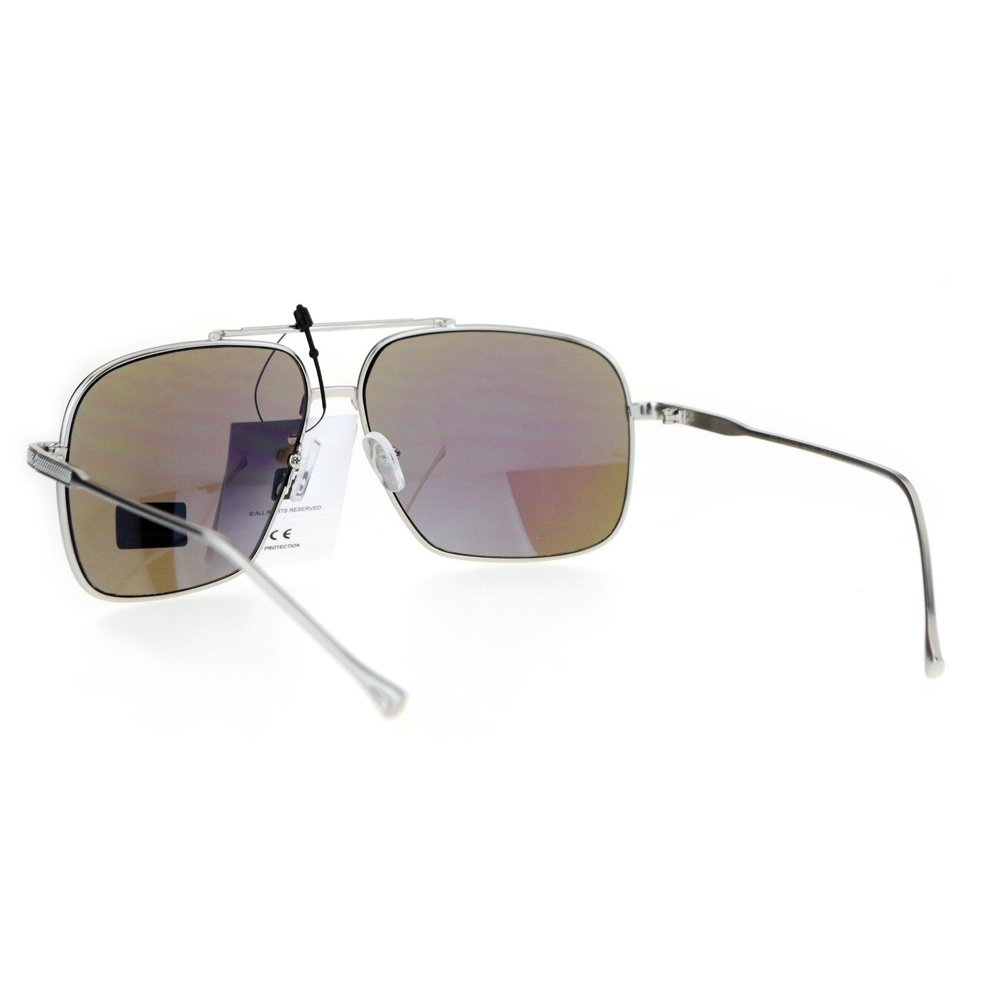 6909e08410d0 Mens Oversized Mirrored Aviator Sunglasses