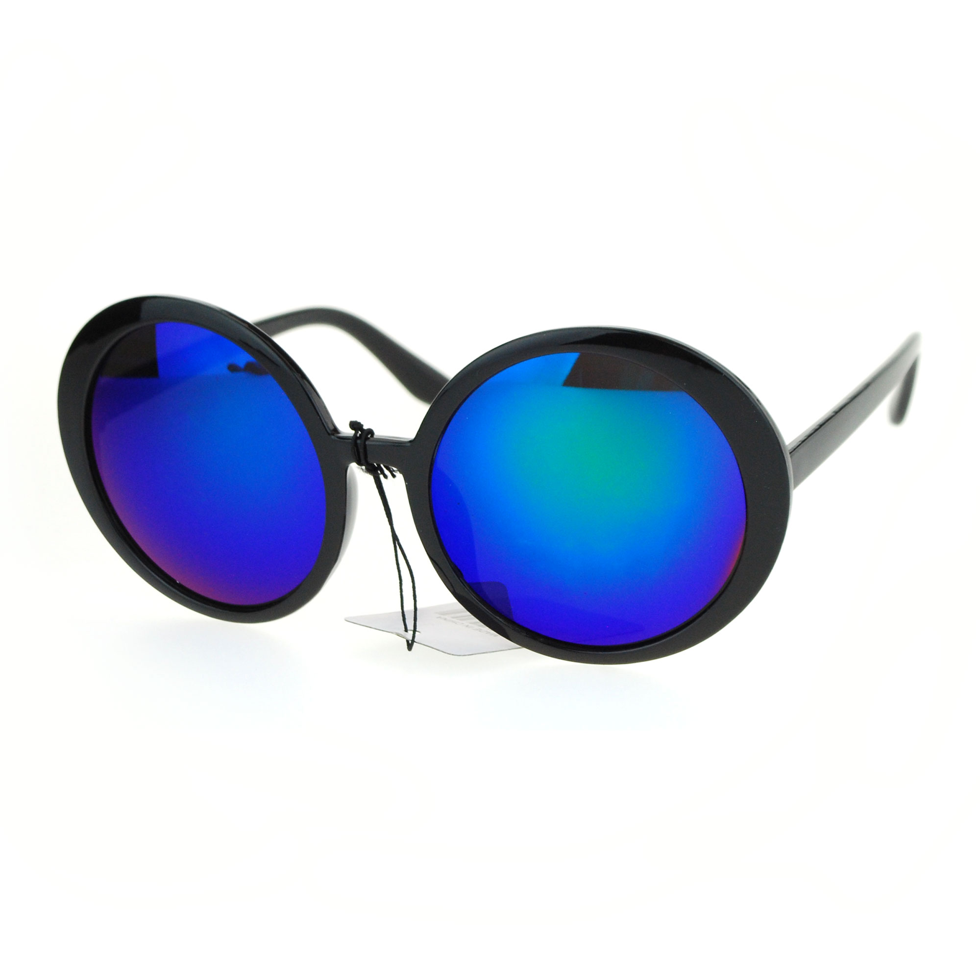 SA106 Mirrored Retro Round Mod Womens Plastic Groove Sunglasses