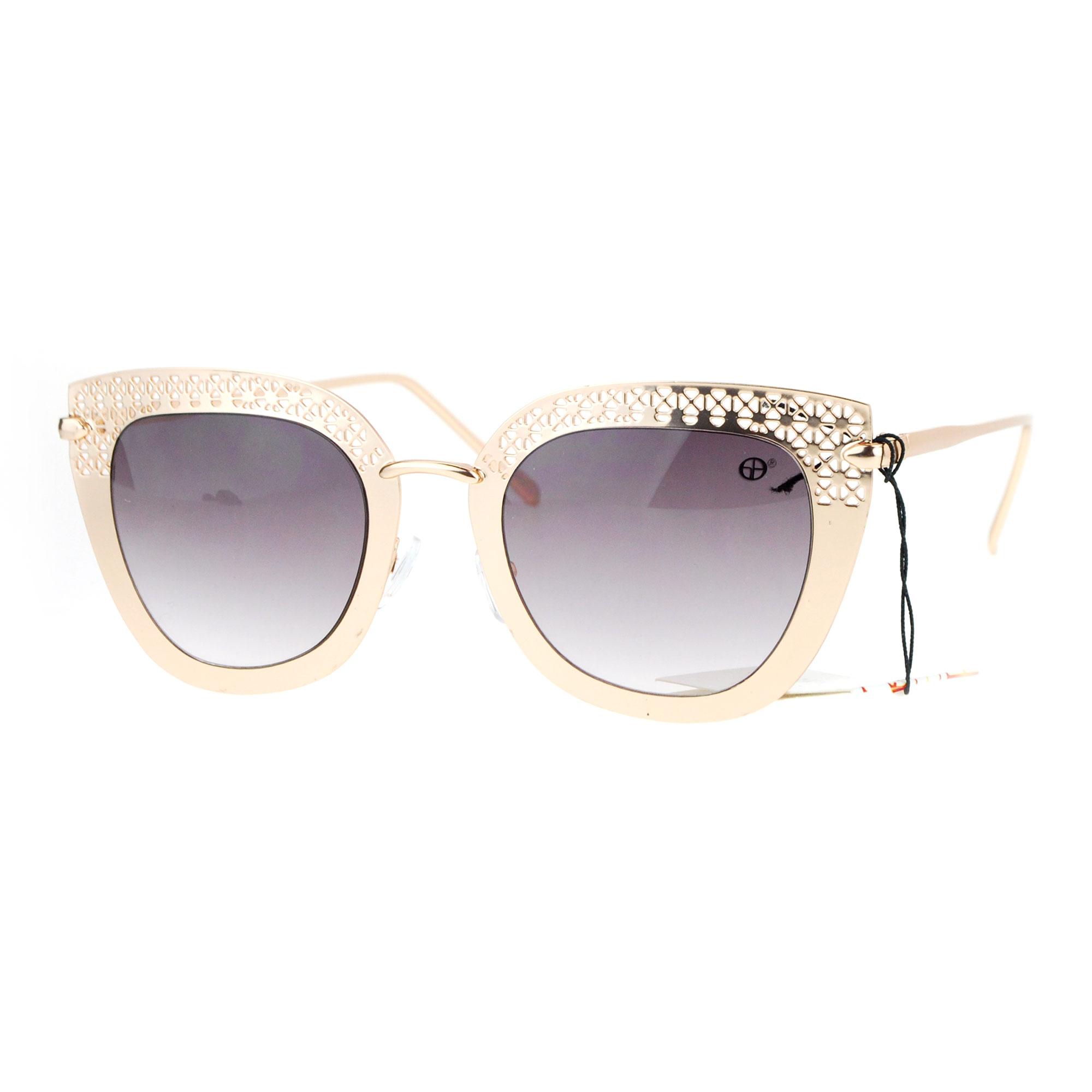 Metal Cat Eye Sunglasses  sa106 luxury womens fl cut metal brow cat eye sunglasses