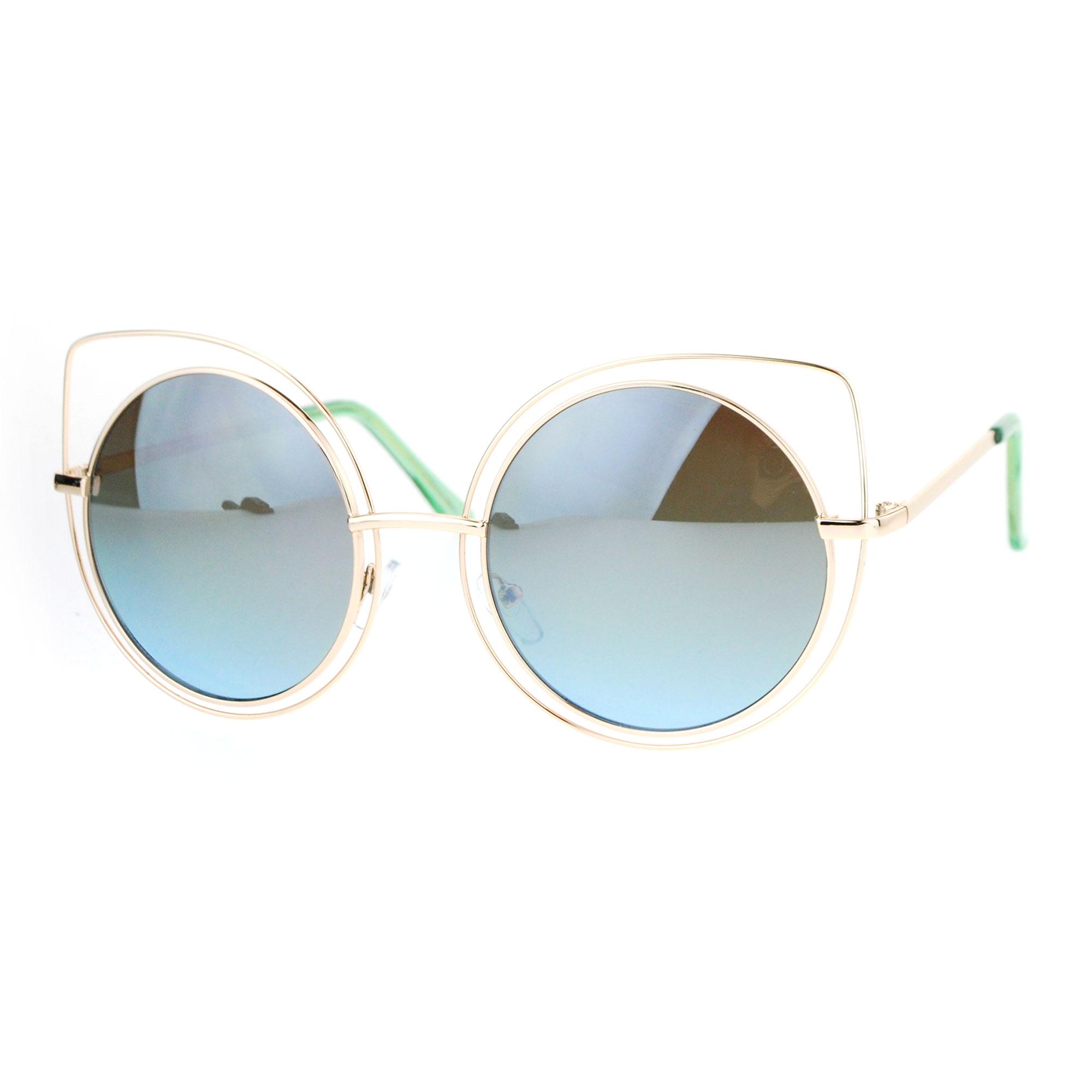 SA106 Womens Wire Rim Bat Shape Cat Eye Round Circle Lens Sunglasses ...
