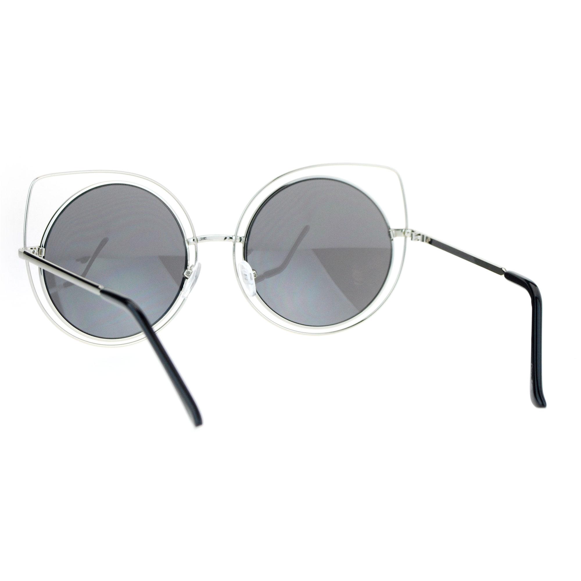 Circle Lens Sunglasses  sa106 womens wire rim bat shape cat eye round circle lens