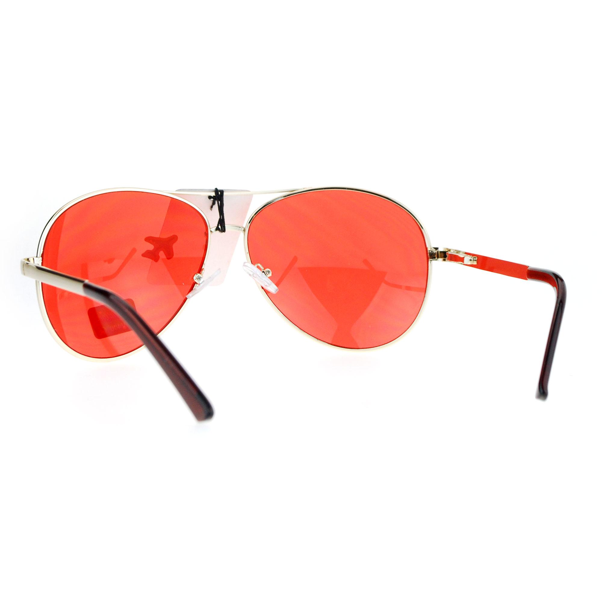 SA106 Red Lens Hollywood Aviator Metal Rim Sunglasses