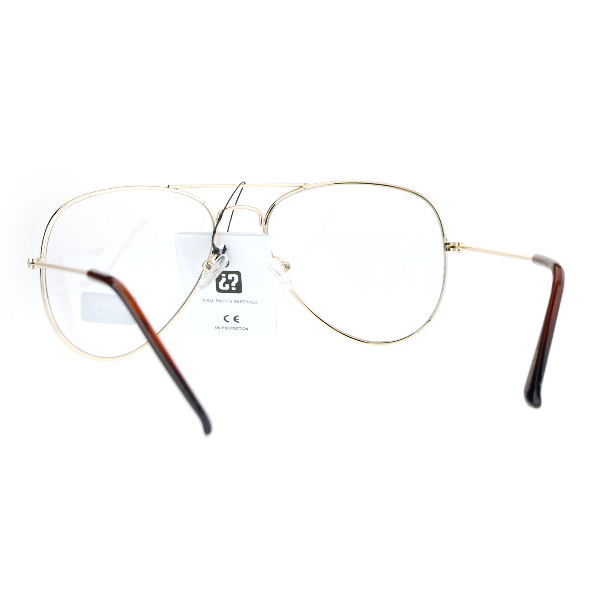 f13a41a578d5 SA106 Classic Police Tear Drop Shape Metal Clear Lens Aviator ...