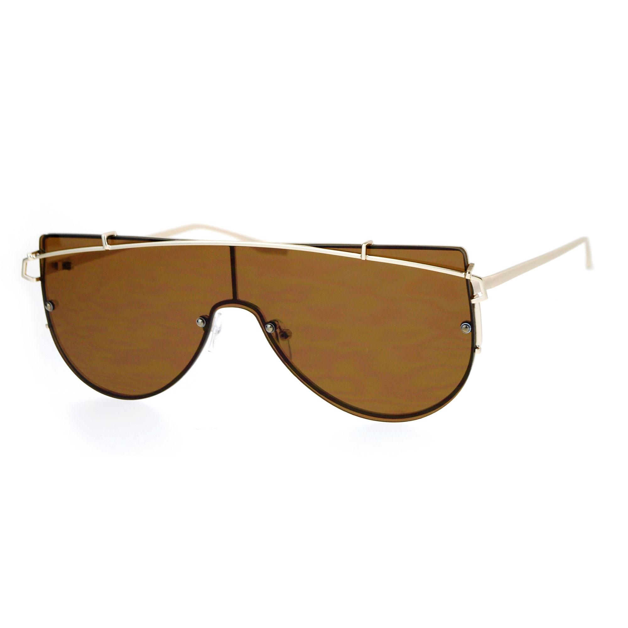 Large womens fashion oversized round circle sunglasses ebay - Sa106 Flat Panel Shield Metal Brow Futurism Retro