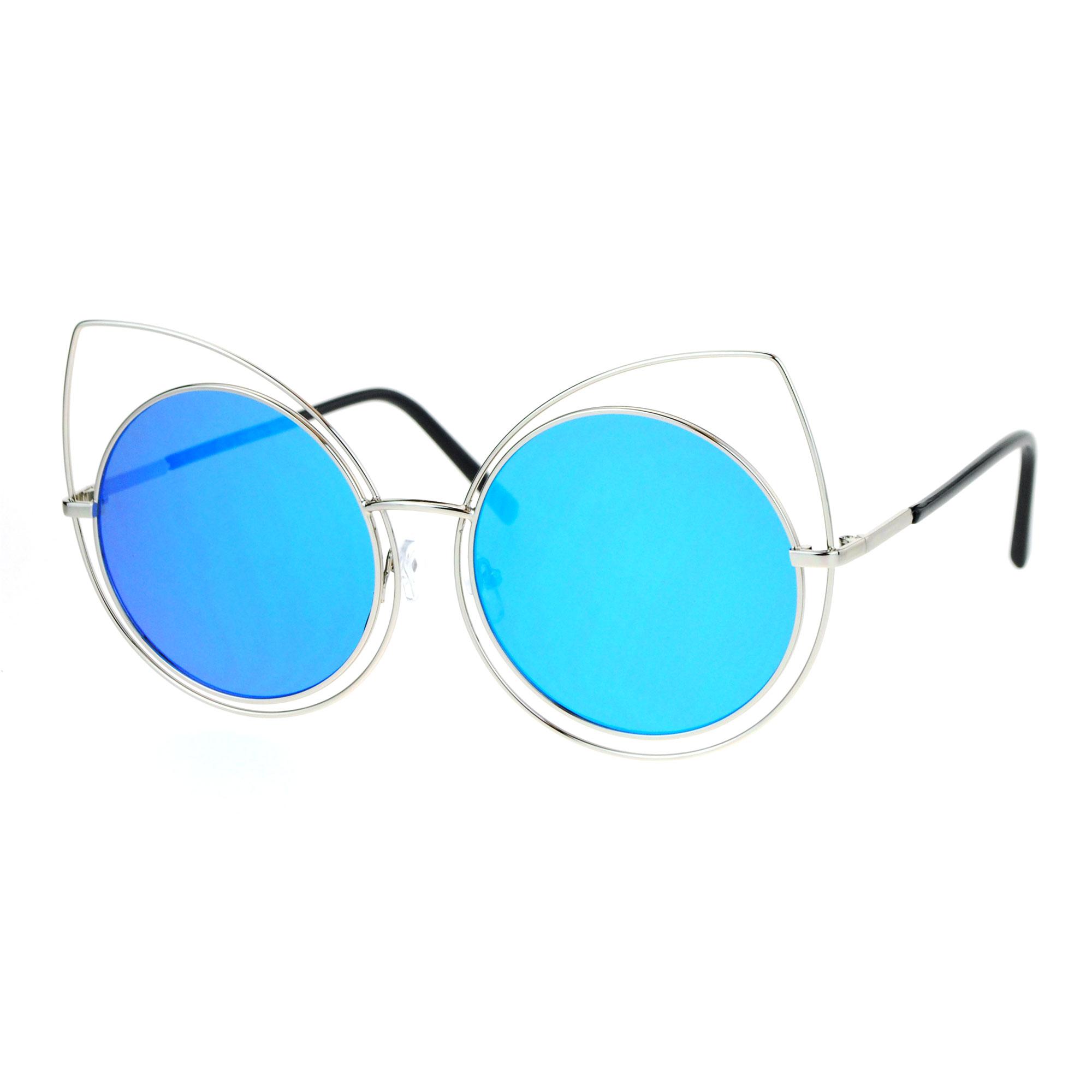 SA106 Womens Wire Rim Bat Cat Eye Round Circle Lens Retro Sunglasses ...