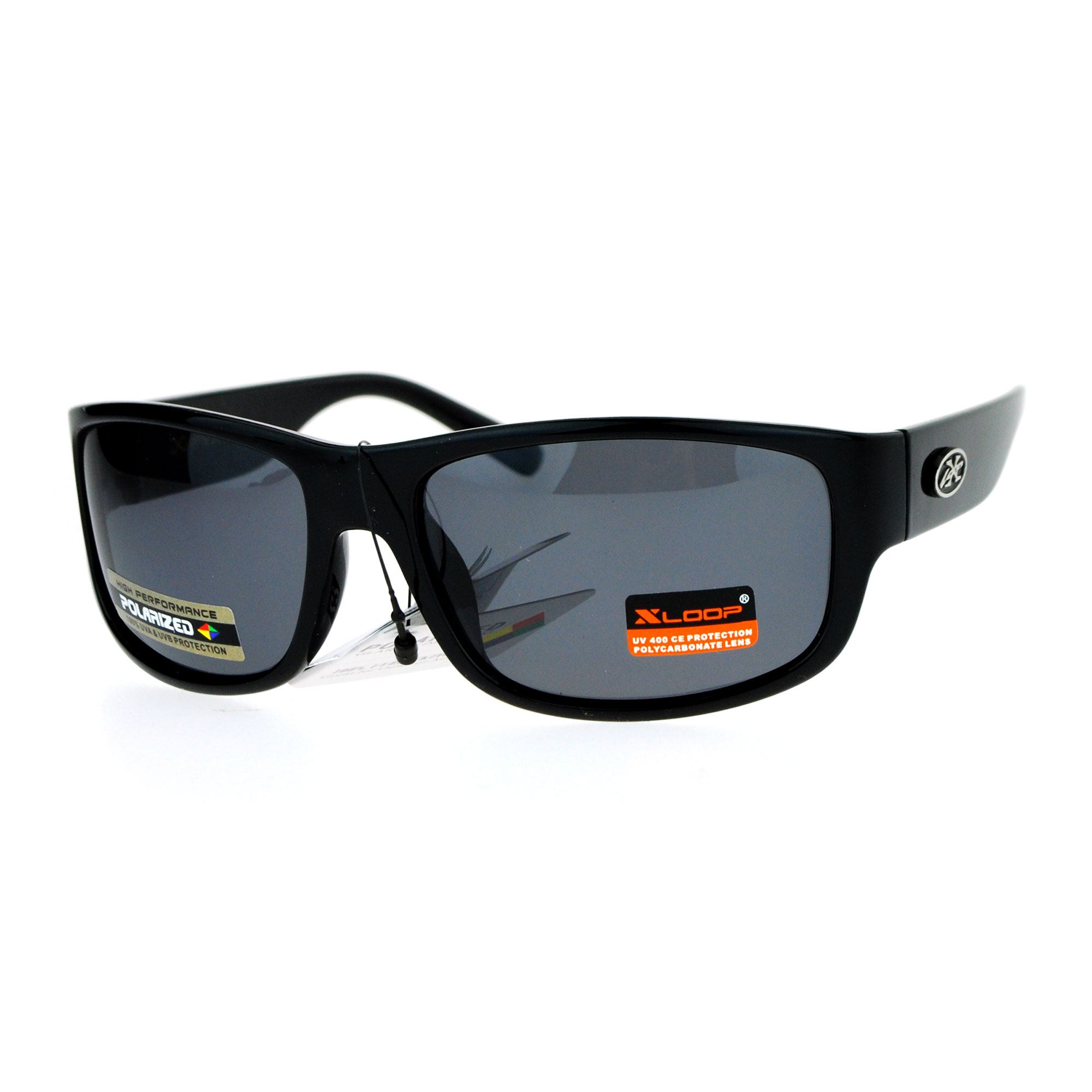 Xloop polarized lens warp rectangular biker style mens for Mens fishing sunglasses